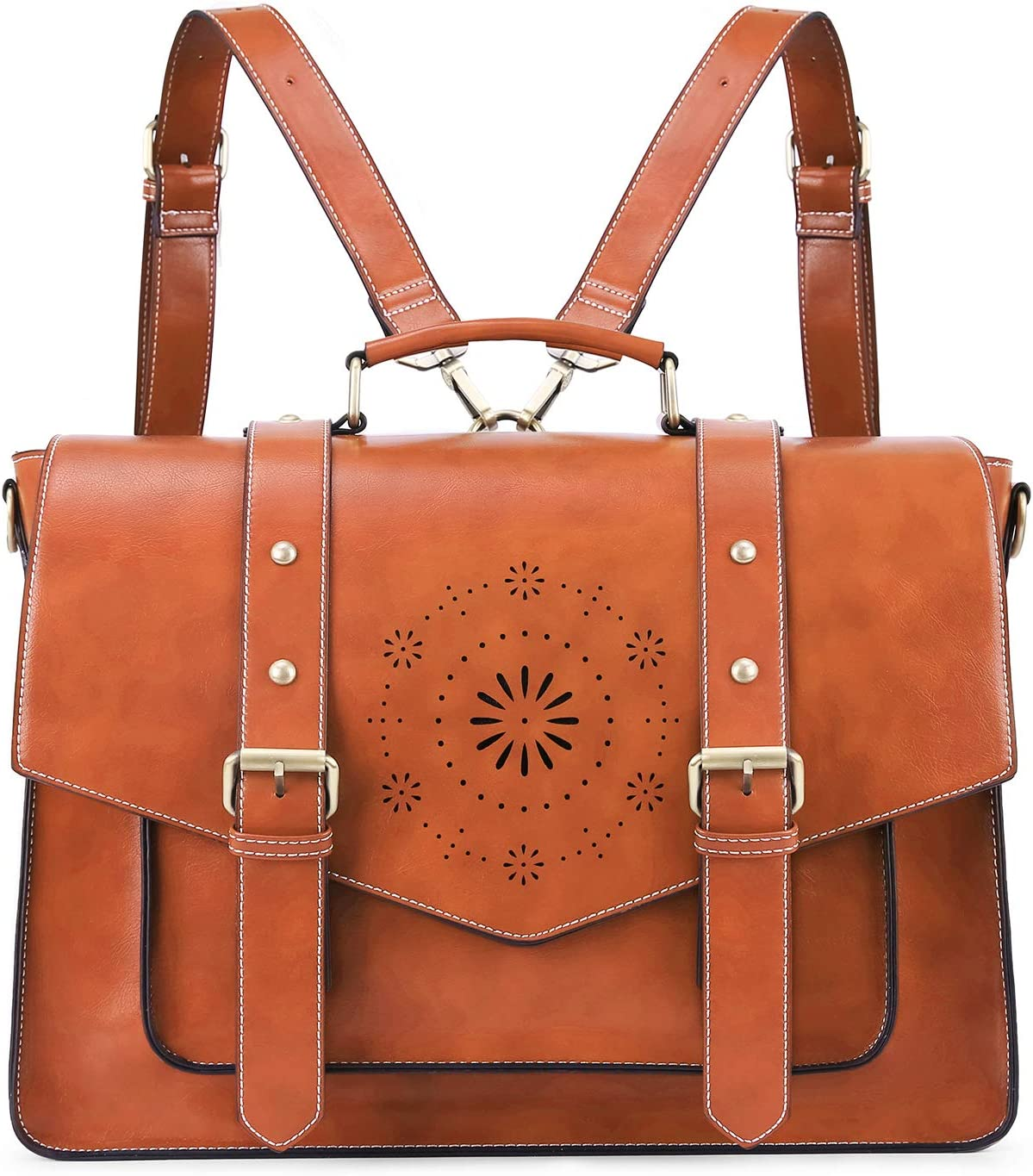 ECOSUSI Backpack for Women Briefcase Messenger Laptop Bag Vegan Leather Satchel Work Bags Fits 15.6 inch Laptops, Brown
