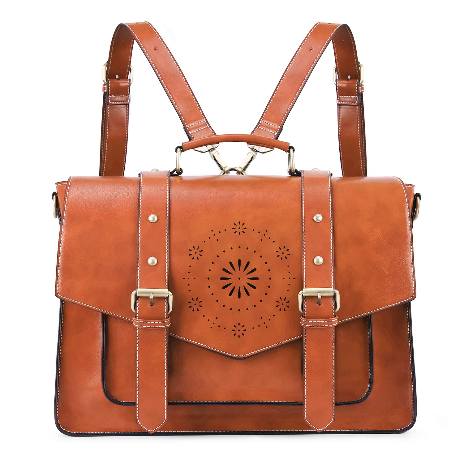 ECOSUSI Backpack for Women Briefcase Messenger Laptop Bag Vegan Leather Satchel Work Bags Fits 15.6 inch Laptops, Brown by ECOSUSI