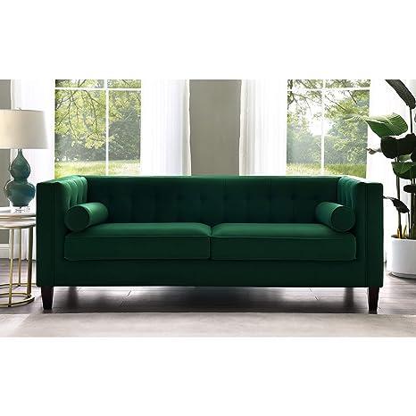 Surprising Amazon Com Inspired Home Green Velvet Sofa Design Lotte Machost Co Dining Chair Design Ideas Machostcouk