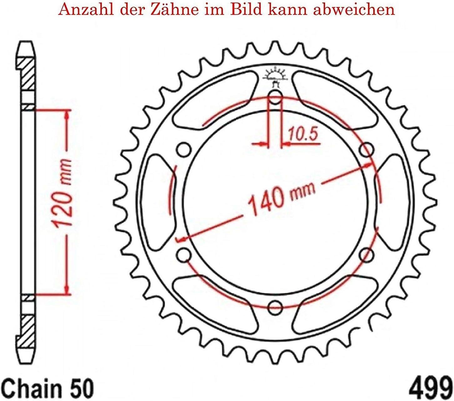 Kettenrad mit 42 Z/ähnen f/ür GSX 1300 RZ Hayabusa SE 2003 von jt-Sprockets