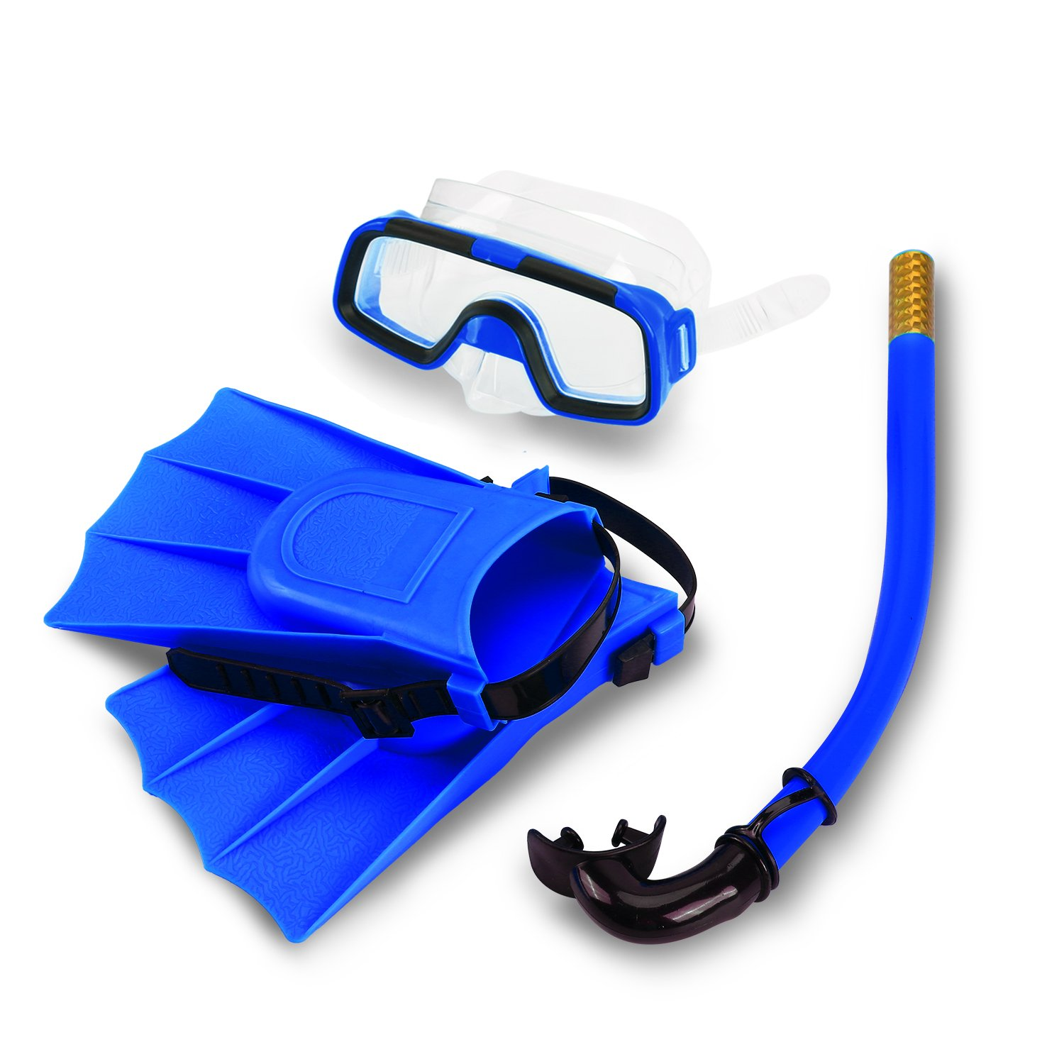 Bnineteenteam Kids Snorkel Set,Snorkeling Packages for Kids Aged 3-4 years old with Mask,Snorkel Scuba Eyeglasses /& Silicone Fins Blue