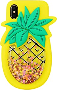 Quicksand Pineapple Case for iPhone X XS,Soft Cute Silicone 3D Cartoon Liquid Fruit Cover,Shockproof Vivid Color Kids Girls Boys Bling Glitter Rubber Kawaii Character Fashion Cases for iPhone X XS 10