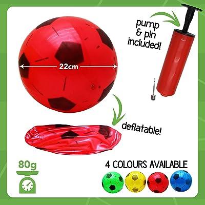 12 Balones de Fútbol Inflables de PVC - Incluye una bomba para inflar. - 4 Colores diferentes - Perfecto para regalos de niños, fiestas y bolsas - Cumpleaños exterior e interior juegos de juguete: Juguetes y juegos