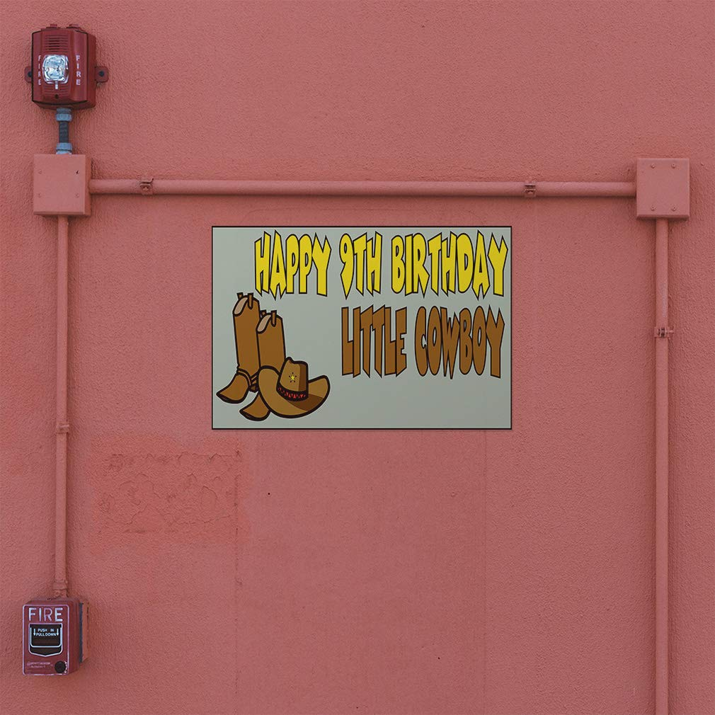 27inx18in Decal Sticker Multiple Sizes Happy 9th Birhday Cowboy Lifestyle Happy 9th Birhday Outdoor Store Sign Yellow Set of 5