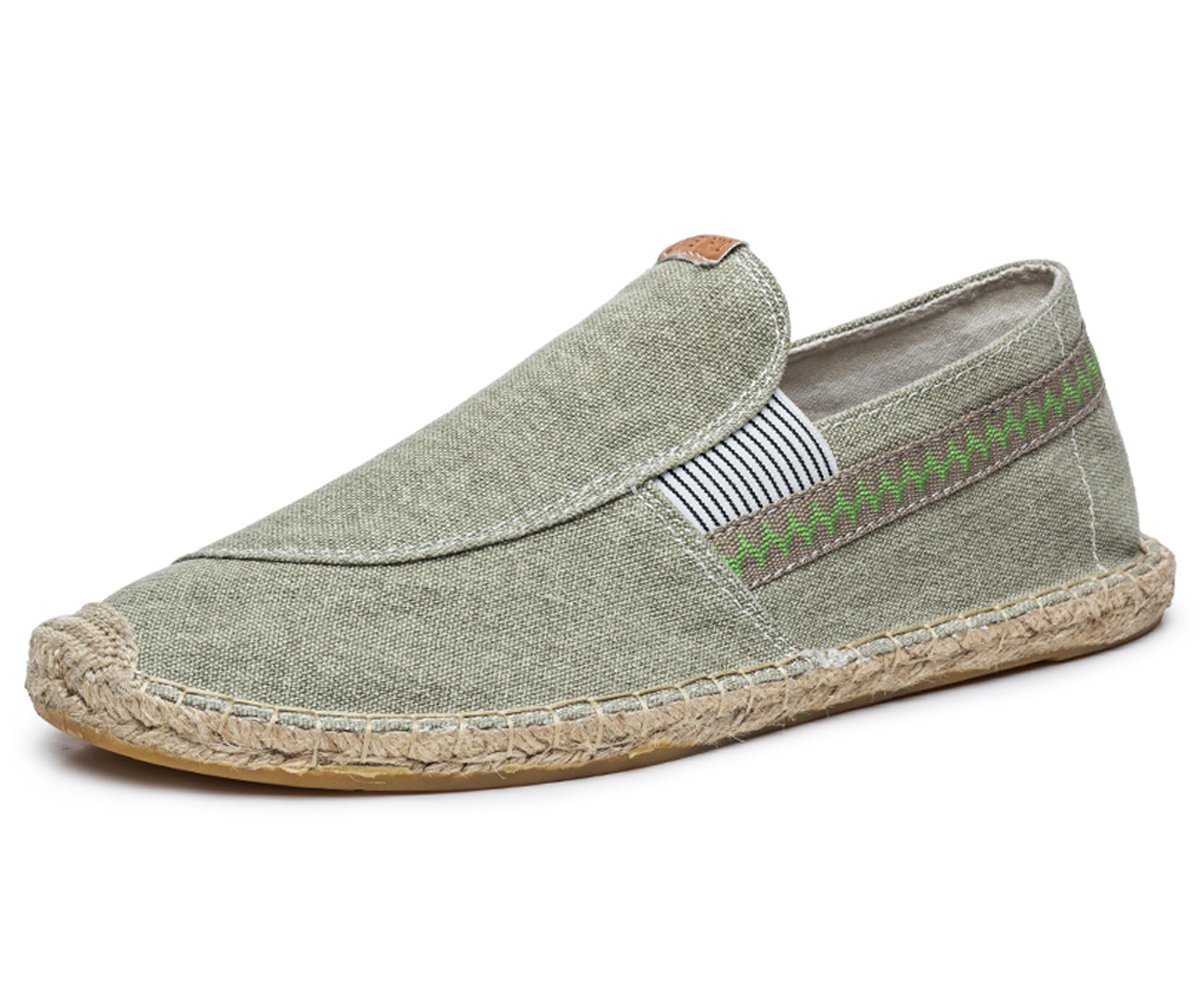BEFAiR Men's Vintage Slip on Loafers Lightweight Canvas Shoes Breathable Casual Shoes Light Green