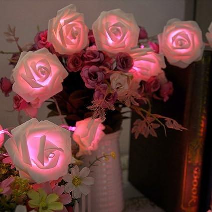 Amazon leegoal rose flower fairy string lights 20led wedding leegoal rose flower fairy string lights 20led wedding garden party christmas decorationwhite with pink mightylinksfo