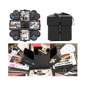 EKKONG Explosion Box Scrapbook Creative DIY Photo Album de Accesorios para cumpleaños Aniversario Boda San Valentín Día de la Madre Navidad (Negro): ...