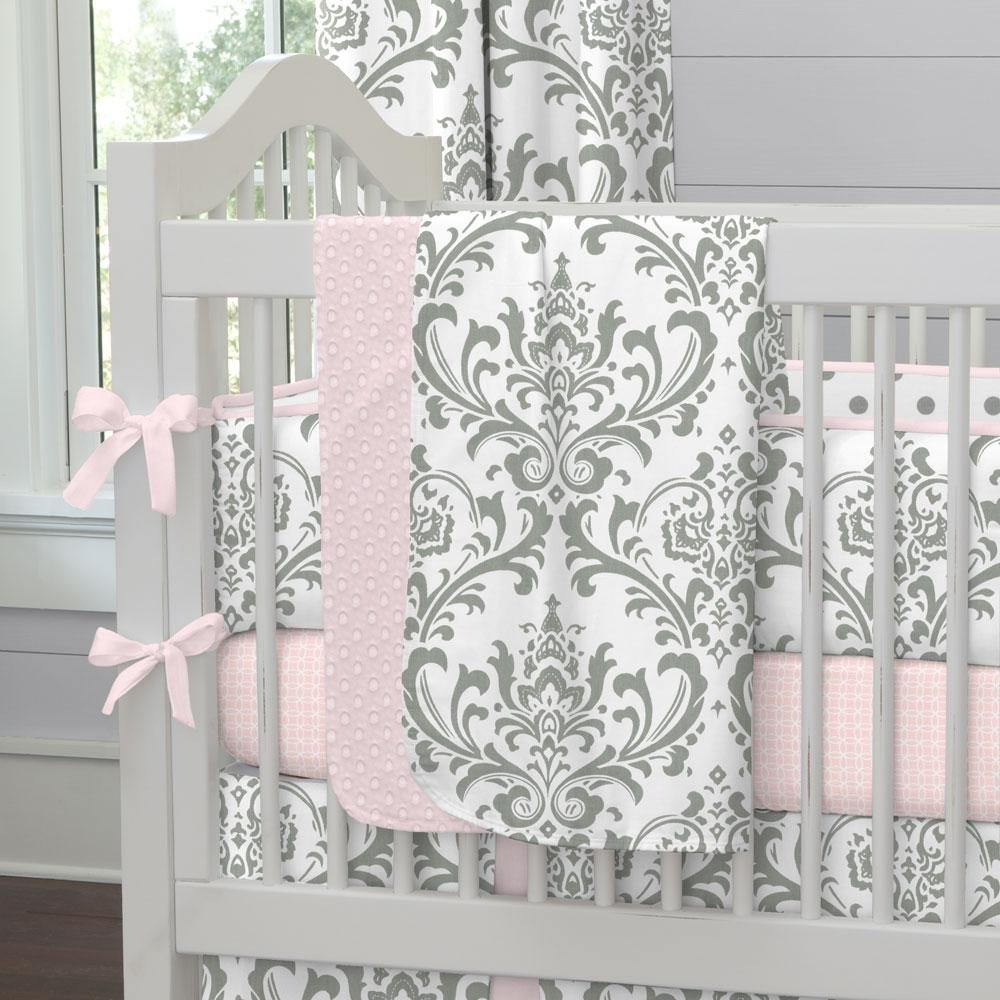 Carousel Designs Pink and Gray Traditions Crib Blanket by Carousel Designs   B00JVXZ6CE