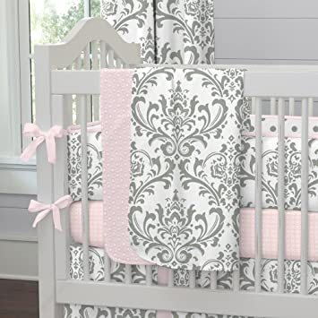 Carousel Designs Pink and Gray Traditions Cradle Bumper