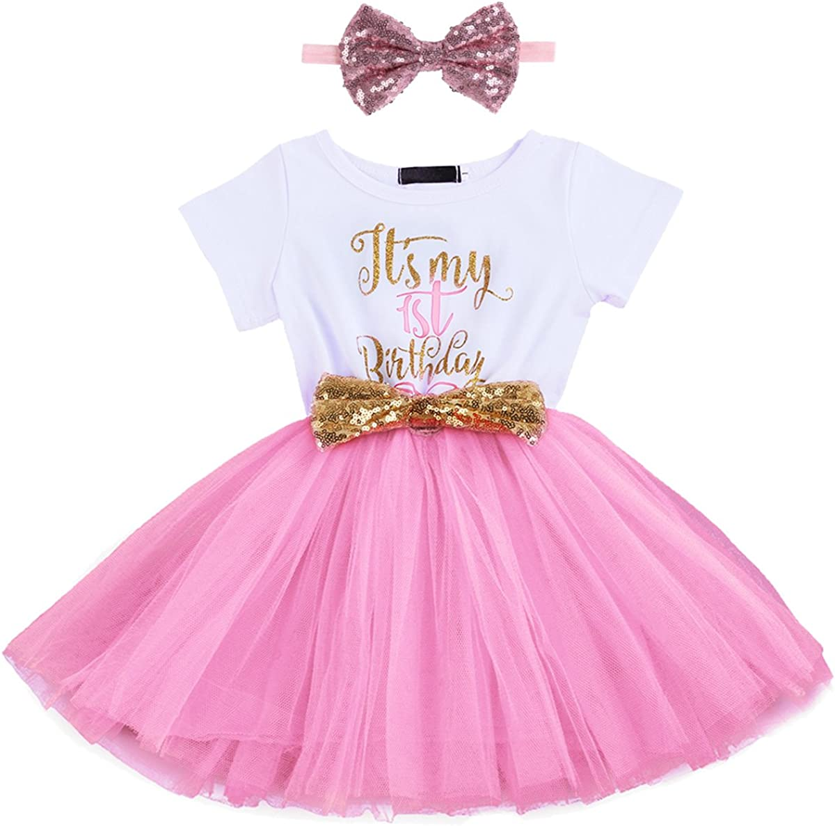 IBTOM CASTLE Its My 1st Birthday Outfits Cake Smash Princess Dress for Baby Little Girl Newborn Party Gown Set