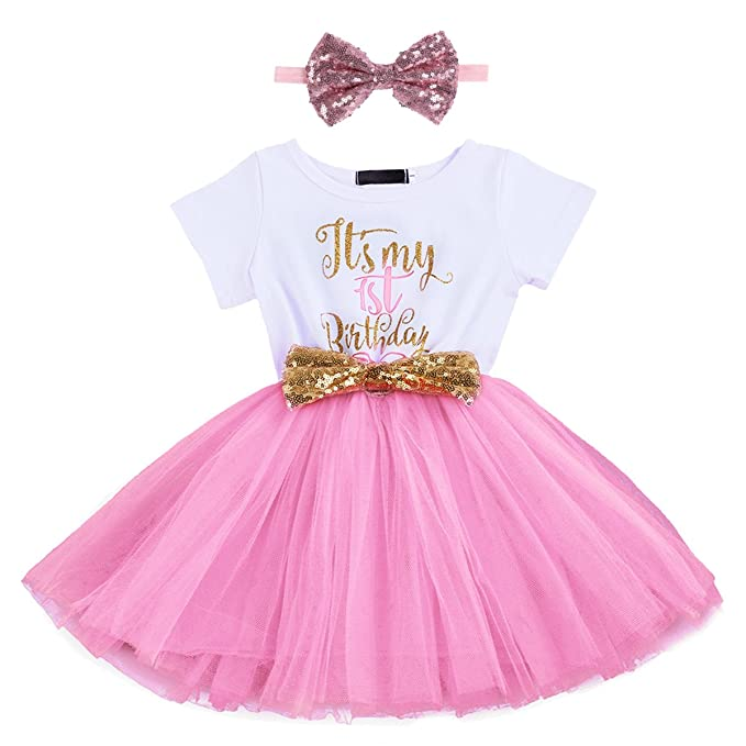4bf0dc0f1148d Newborn Baby Girl Princess It's My 1st/2nd Birthday Party Cake Smash Shinny  Sequin Bow Tie Tulle Tutu Dress Outfit