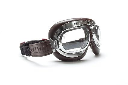 Gafas Moto - Mascara en piel marrón perfil de acero cromo con lentes antihumo y antichoque by Bertoni Italy - AF191CRB: Amazon.es: Deportes y aire libre