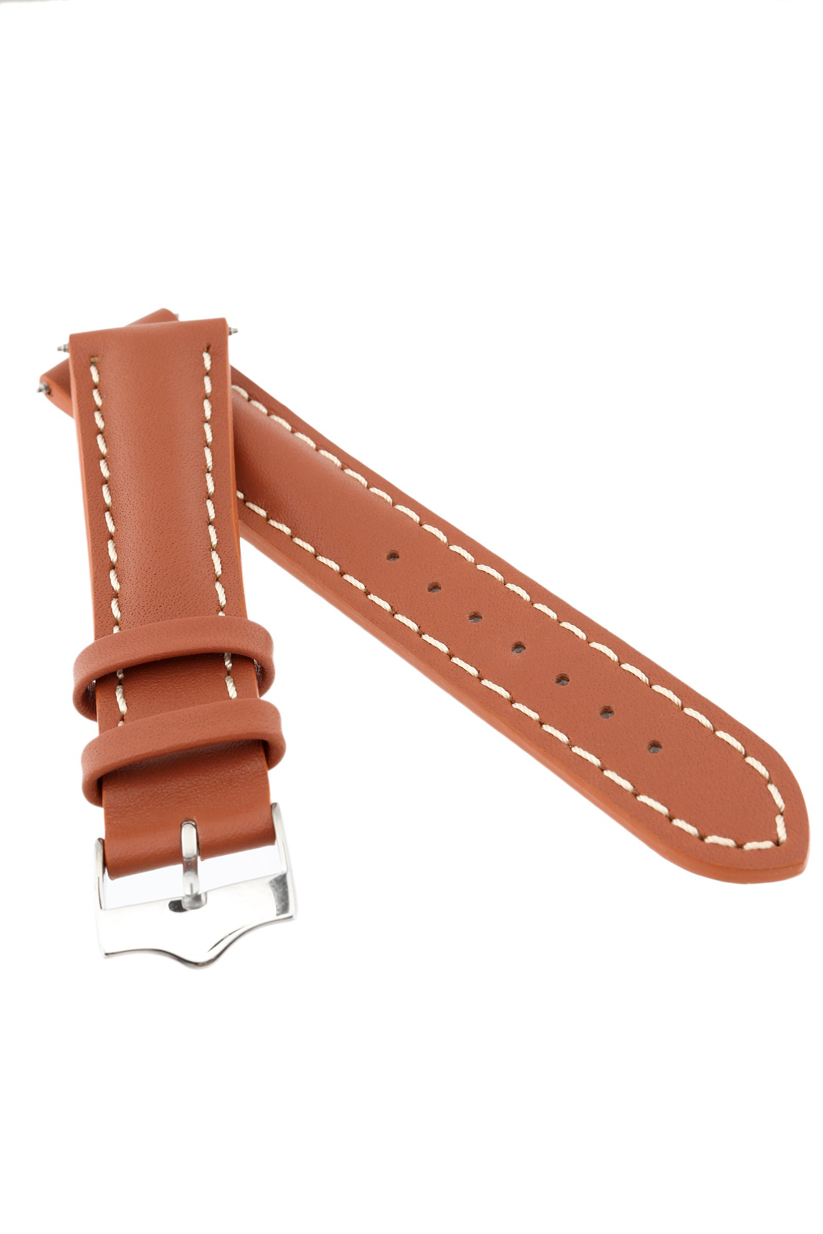 Signature Racing Wood 20 mm watch band. Replacement watch strap. Genuine Leather. Silver buckle by Signature (Image #3)