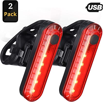 ClipGrip USB Rechargeable LED Bike Tail Light {2 Pack} Water Resistant IPX4 330mah Lithium Battery 4 Light Mode Options Bright Scooter /& Bicycle Rear Cycling Safety Flashlight RED