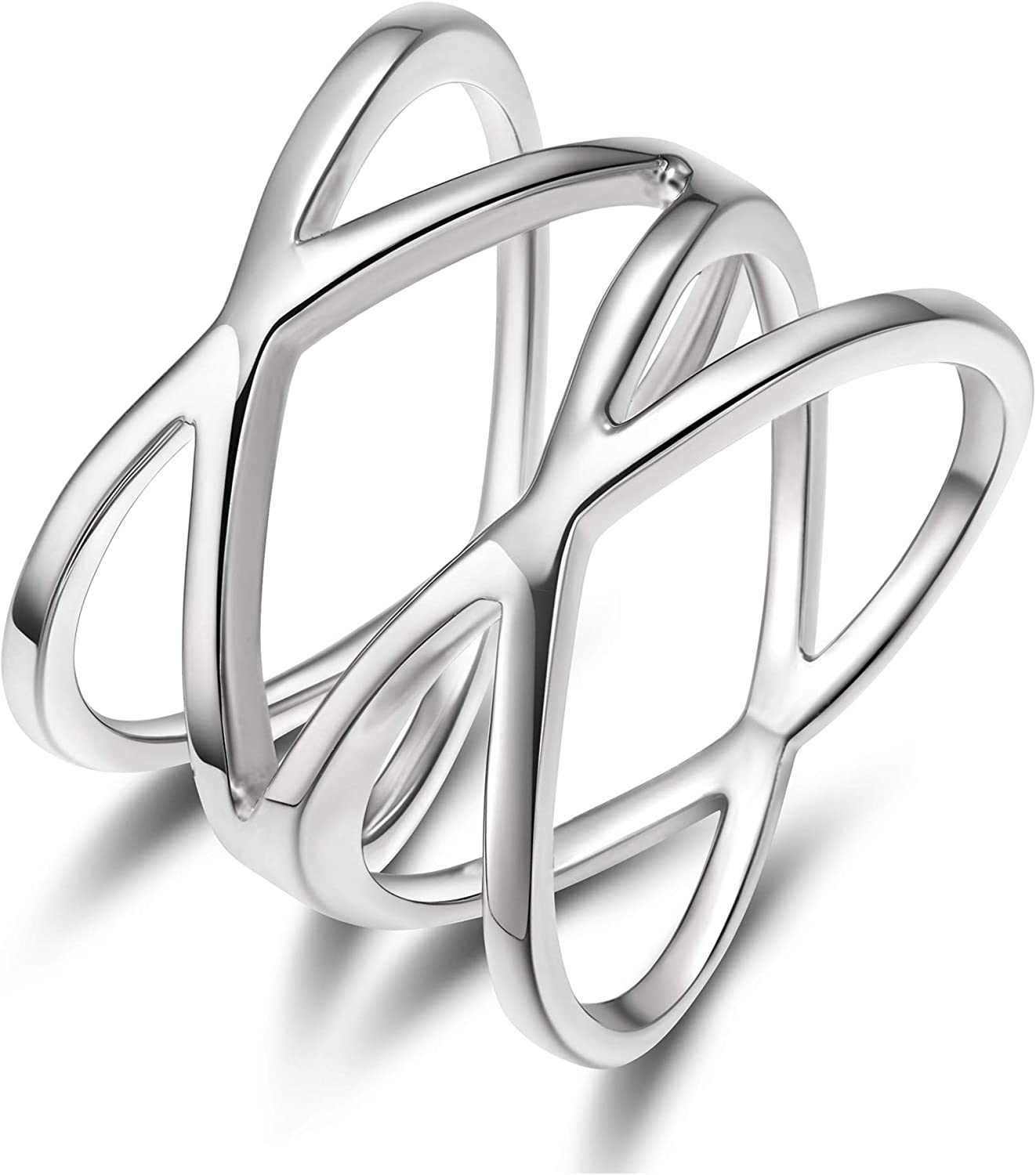 SOMEN TUNGSTEN Double X Criss Cross Ring 925 Sterling Silver Wide Knuckle Stackable Ring Band for Women High Polished Size 5-12