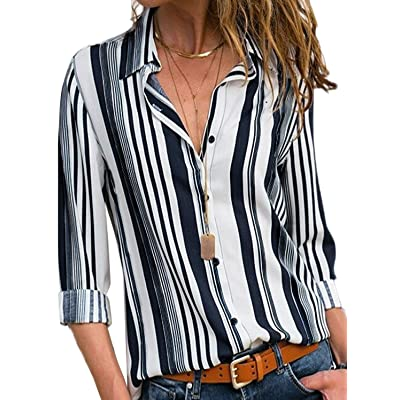 Buy Astylish Women V Neck Striped Roll up Sleeve Button Down Blouses Tops Online in Indonesia. Office wear dresses
