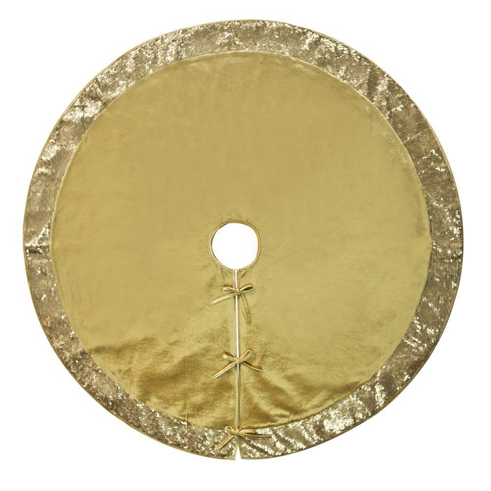 """50""""Christmas Tree Skirt–Decorative Christmas Tree Skirt for Christmas &Holiday/Rich Gold Satin Center with Gold Sequined Border (Three Layer Construction)"""