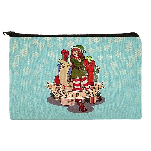 christmas elf pin up naughty but nice makeup cosmetic bag organizer pouch - Christmas Elf Makeup