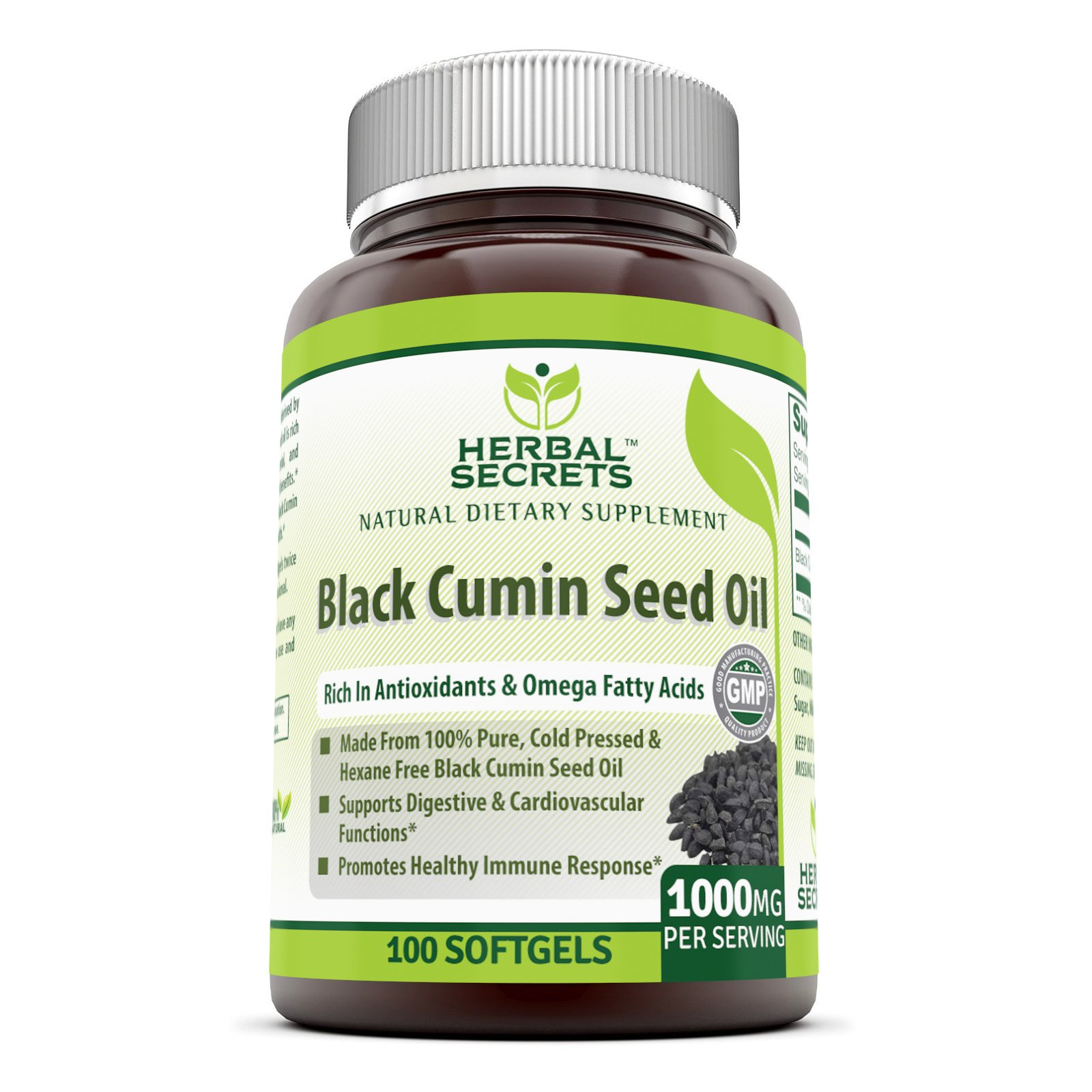 Herbal Secrets 100% Pure Black Cumin Seed Oil - 1000 Mg,100 Softgels - New Improved Formula - Supports Cardiovascular & Digestive Function