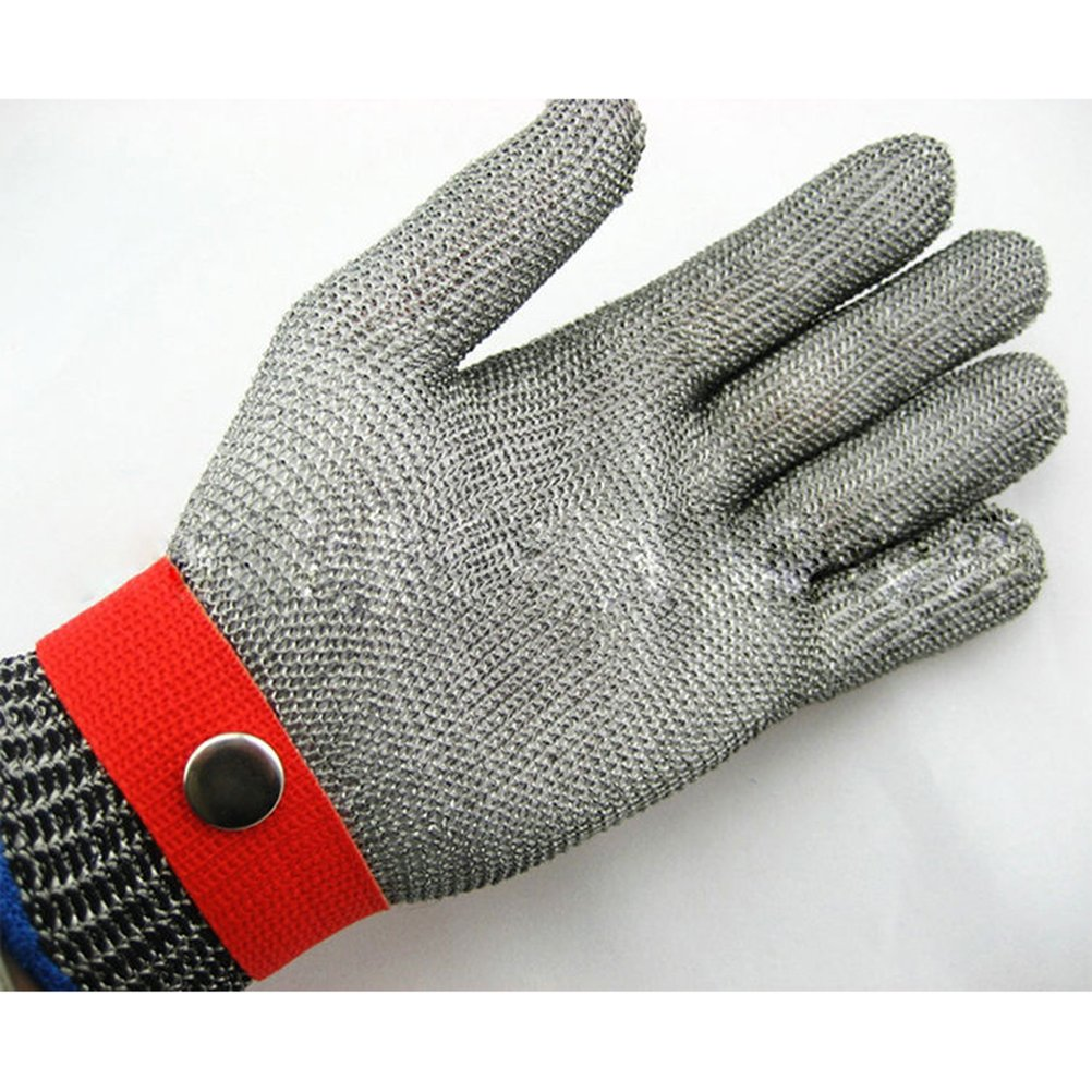 WINOMO Anti-Cut Proof Stab Resistant Work Gloves With Metal Button Stainless Steel Wire Safety Cut Metal Mesh Butcher High Performance Level 5 Protection