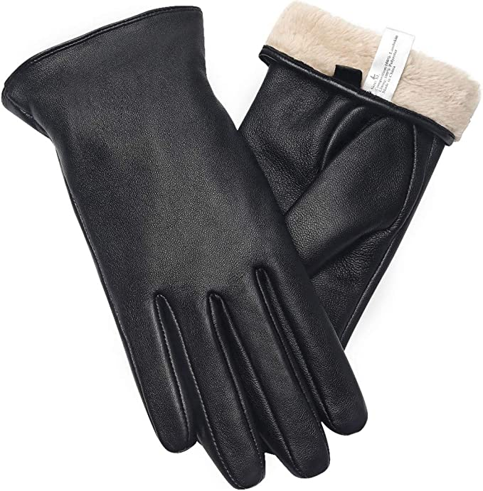 Ladies Soft Real Leather Gloves Women Warm Fully Lined Winter Dress Gloves