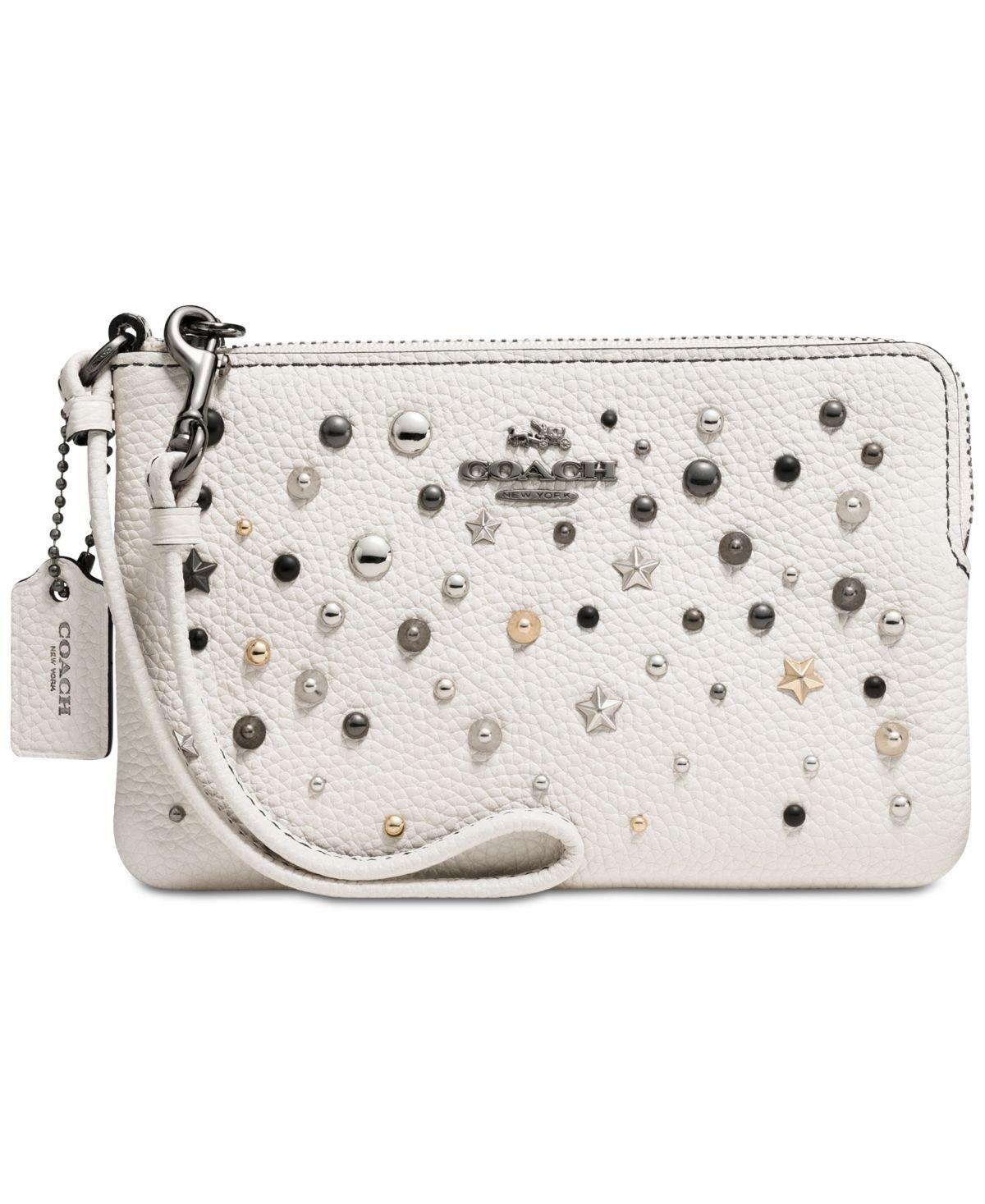 COACH Women's Star Rivets Small Wristlet Dk/Chalk Handbag
