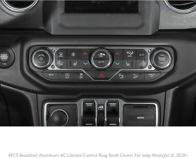 Artudatech 4PCS Aluminum AC Climate Control Ring Knob Covers for J-e-e-p Wrangler JL 2018 BLE