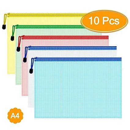 KEEQII Carpetas de documentos A4, bolsas de plástico ...
