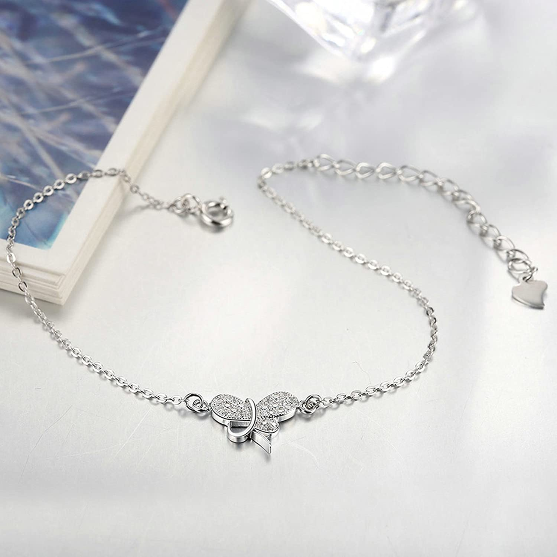 Jewelry Silver Plated Bracelet Bangle Women Charm Bracelet Bangle Butterfly Cz Silver Aokarry Jewelry