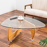 【デザイナーズ曲線美テーブル ガラスと木目の融合(イサム・ノグチの名作)】 非対称がおしゃれな実用的センターテーブル グラつき防止アジャスター付 丈夫な脚部 割れにくい安心強化ガラス (ナチュラル色)