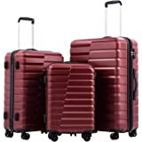 COOLIFE Luggage Expandable(only 28'') Suitcase PC ABS TSA Lock Spinner Carry on new fashion design (wine red, 3 piece set)