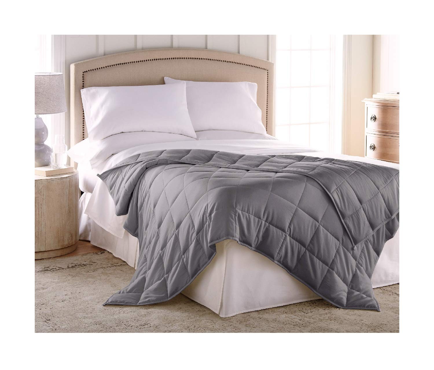 Harmonia Weighted Blanket King Size Adult 30 lbs :: Cotton Shell, Glass Bead Fill, 80'' x 86'', Dark Gray + Minky Duvet Cover, Weighted Blanket For Adults 30 lbs