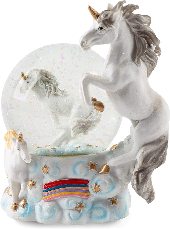 Elanze Designs Mystical Unicorns Figurine 100MM Water Globe Plays Tune You are My Sunshine