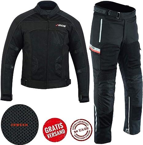 BOSmoto Motorradjacke Herren Textil Wasserdicht Winddicht Mit Protektoren Multifunktional Schwarz S