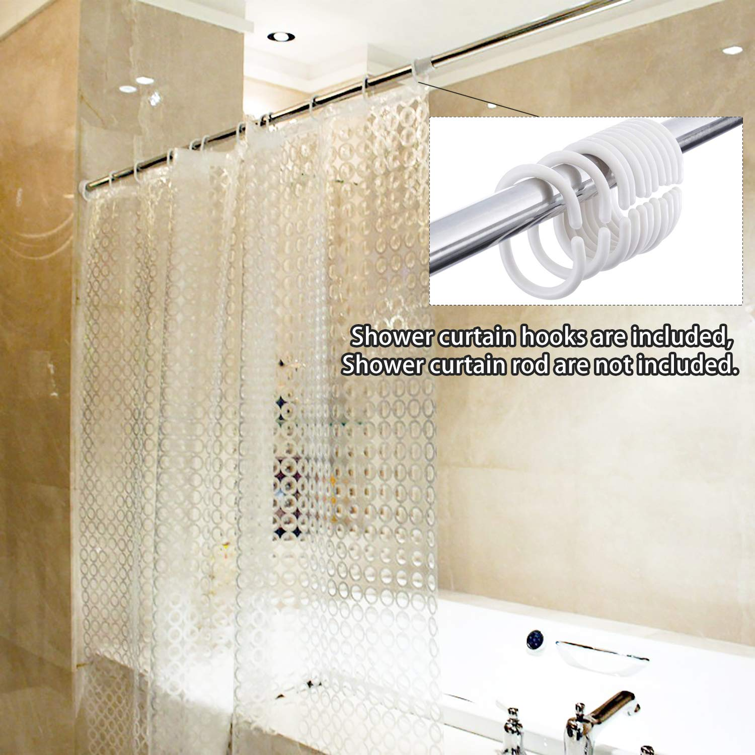 001 Waterproof Eco-Friendly 3D Pebble Bathroom Curtains Movitip EVA Shower Curtain Liner with Hooks