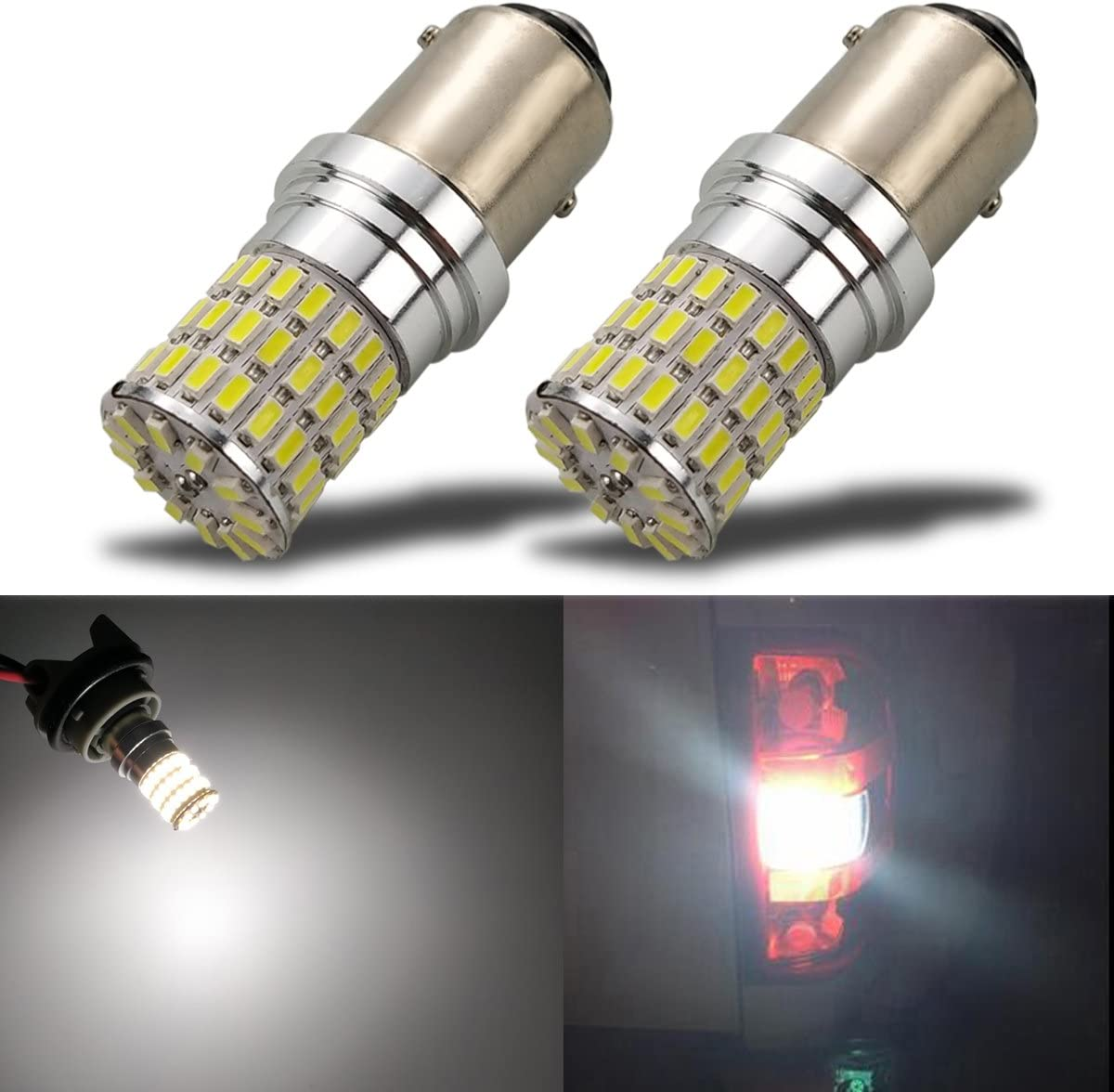 iBrightstar Newest 9-30V Super Bright Low Power 1157 2057 2357 7528 BAY15D LED Bulbs with Projector replacement for Turn Signal Lights,Amber Yellow