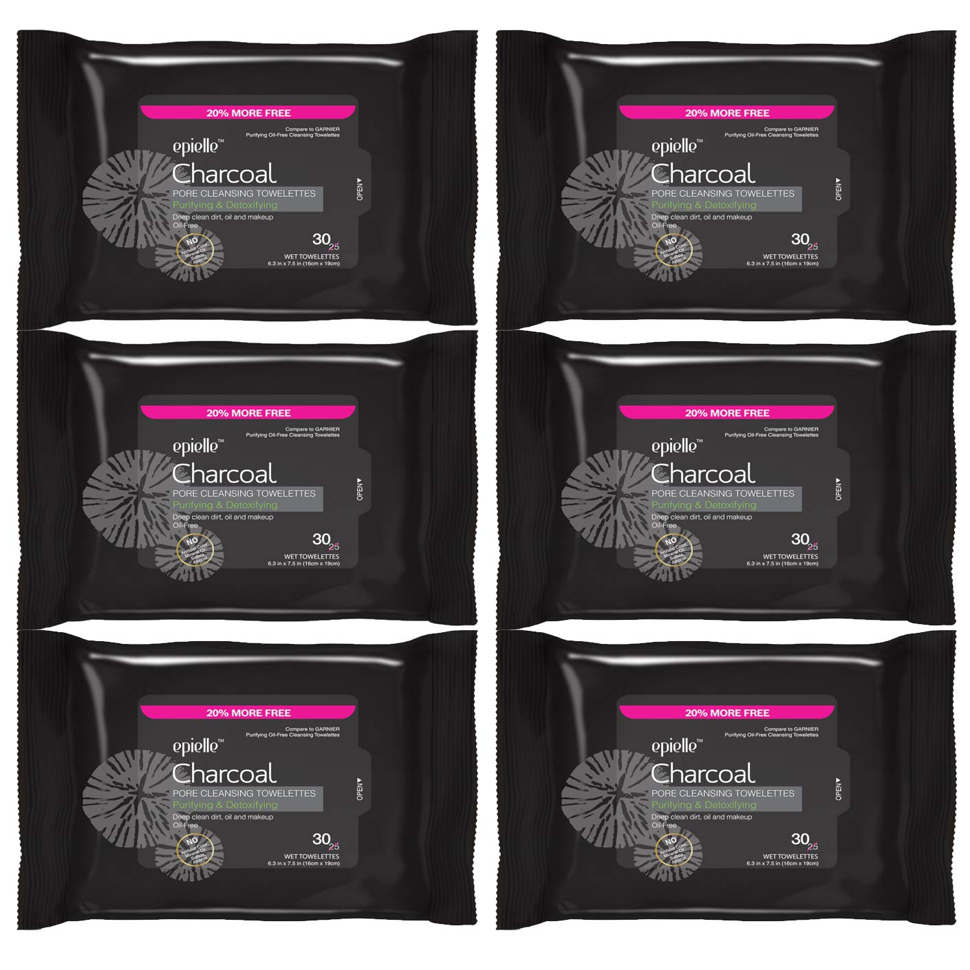 Epielle Charcoal Pore Cleansing Facial Tissues Wipes Towelettes - 30ct (Sheets) per pack, Total 6 packs