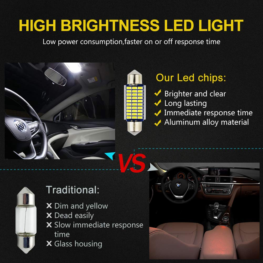 Interior Light,Dashboard,Number Plate,Boot Bulbs DC 12V pack of 10 LncBoc w5w 501 led bulb t10 194 168 LED Bulbs White 5-SMD 5050 For Car Sidelights