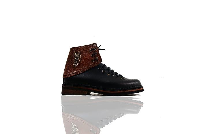 Amazon.com  The Drama Setter - The Shoemaker Handmade Hand-Sewn Leather  Cowhide High Boots Shoes Men Women Unisex Unique Black  Handmade d87f32b3fa