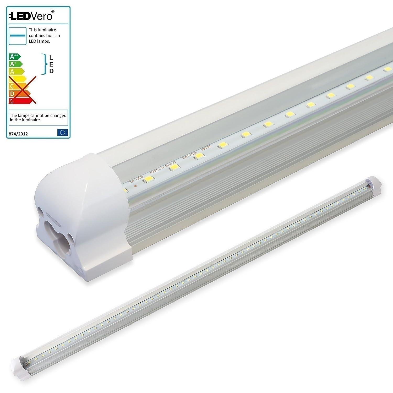 LEDVero 10x SMD LED Röhre 150 cm inklusive inklusive inklusive Fassung in neutralweiss - Leuchtstoffröhre T8 G13 Tube transparente Abdeckung - Lichtleiste mit 25 W, 2500lm- montagefertig 72884c