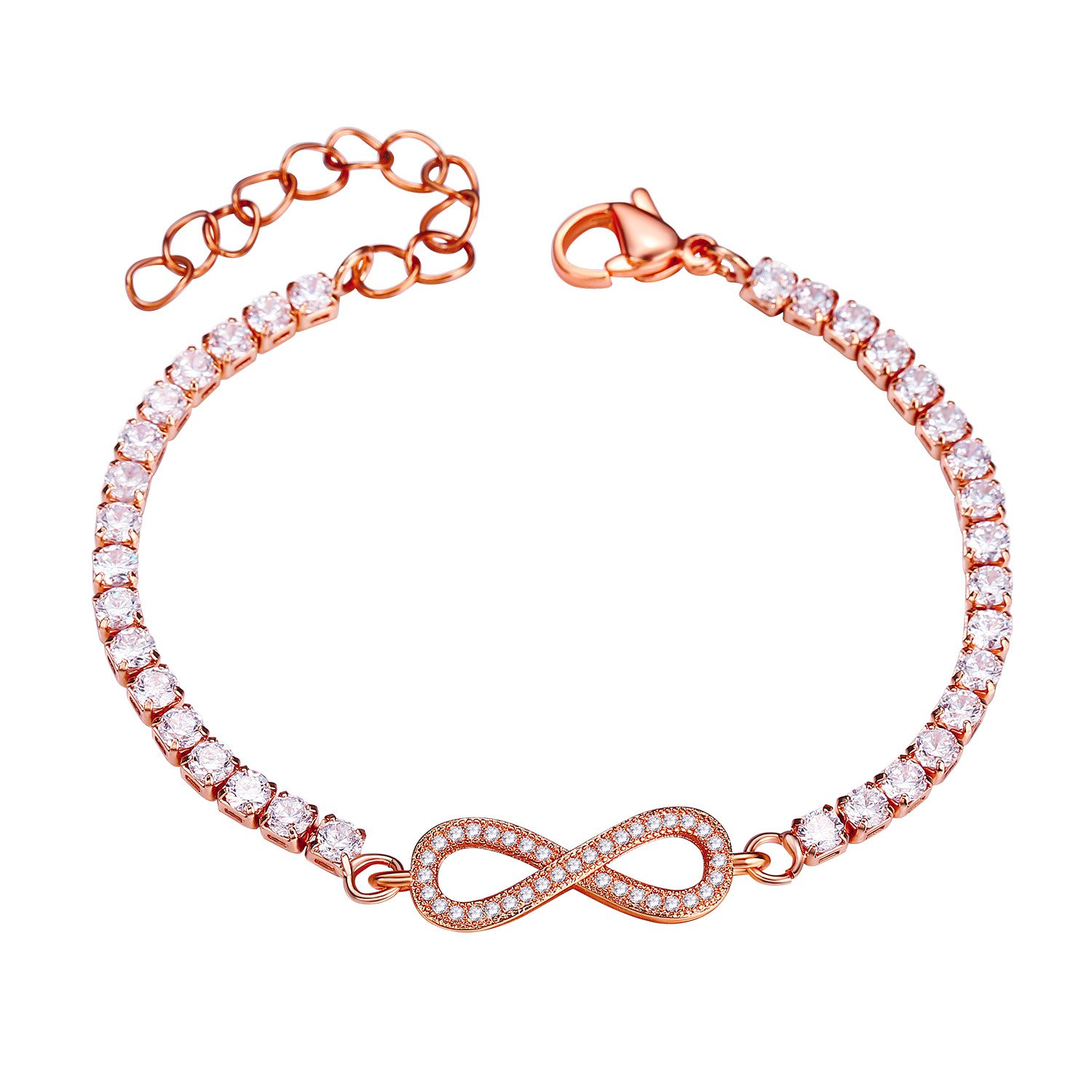 ''Forever Love'' Infinity Endless Love Symbol Charm Bracelet with Full White Cubic Zirconia Adjustable 8.3'' (Rose)