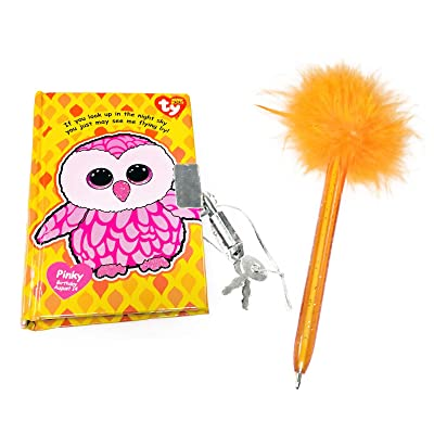 KidPlay Products TY Beanie Boos Pinky The Owl Pocket Mini Diary with Fluffy Pen: Toys & Games