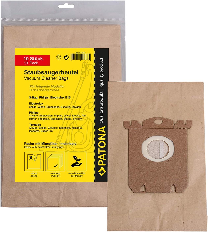 PATONA 10x Bolsas de aspiradora papel compatible con Philips FC ...