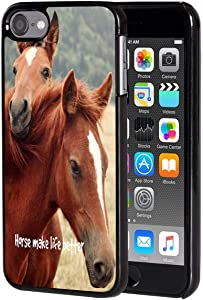 iPod Touch 6 Case,Vobber Shockproof Architecture Hard Plastic Protective Case Cover for Apple iPod Touch 6th Generation,Horse Make Life Better