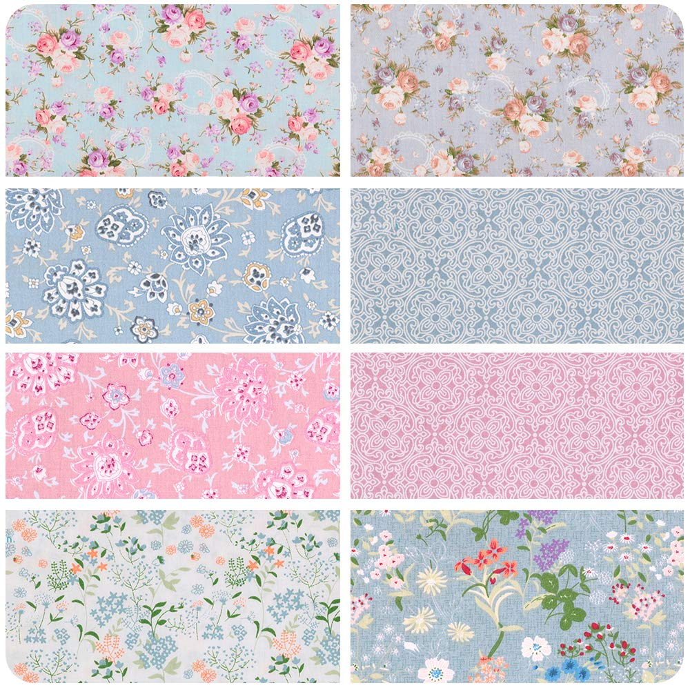Vintage Floral Fat Quarters Fabric Bundles, Precut Quilting Fabric for Sewing,18''x22'' by Hanjunzhao (Image #2)