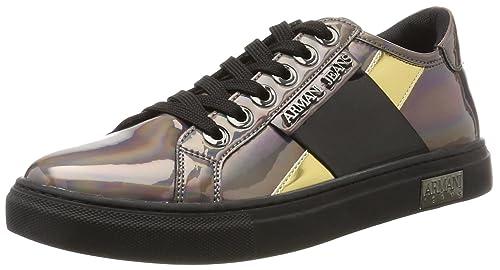Damen Sneaker Bassa, Grau (Gun Metal), 40 EU Armani Jeans