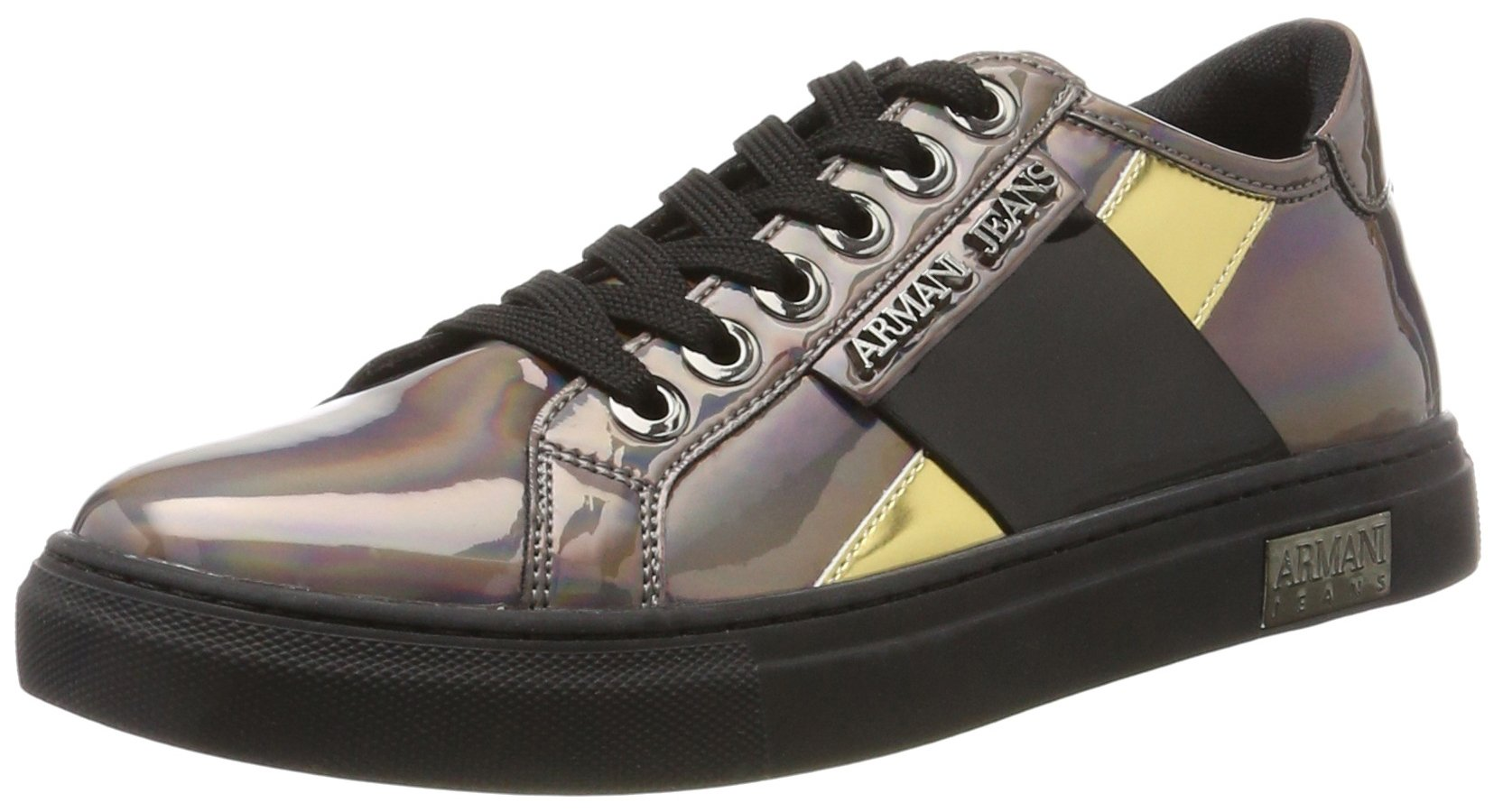 ARMANI JEANS Women's Low Top Lace up Metallic Sneaker, Gun Metal, 39 M EU (9 US)