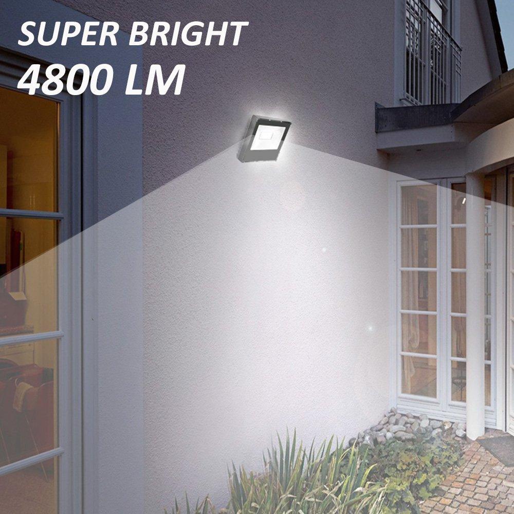 Ustellar 2 Pack 60W LED Flood Light, IP66 Waterproof, 4800lm, 300W Halogen Bulb Equivalent Outdoor Super Bright Security Lights, 5000K Daylight White, Floodlight Landscape Wall Lights by Ustellar (Image #8)