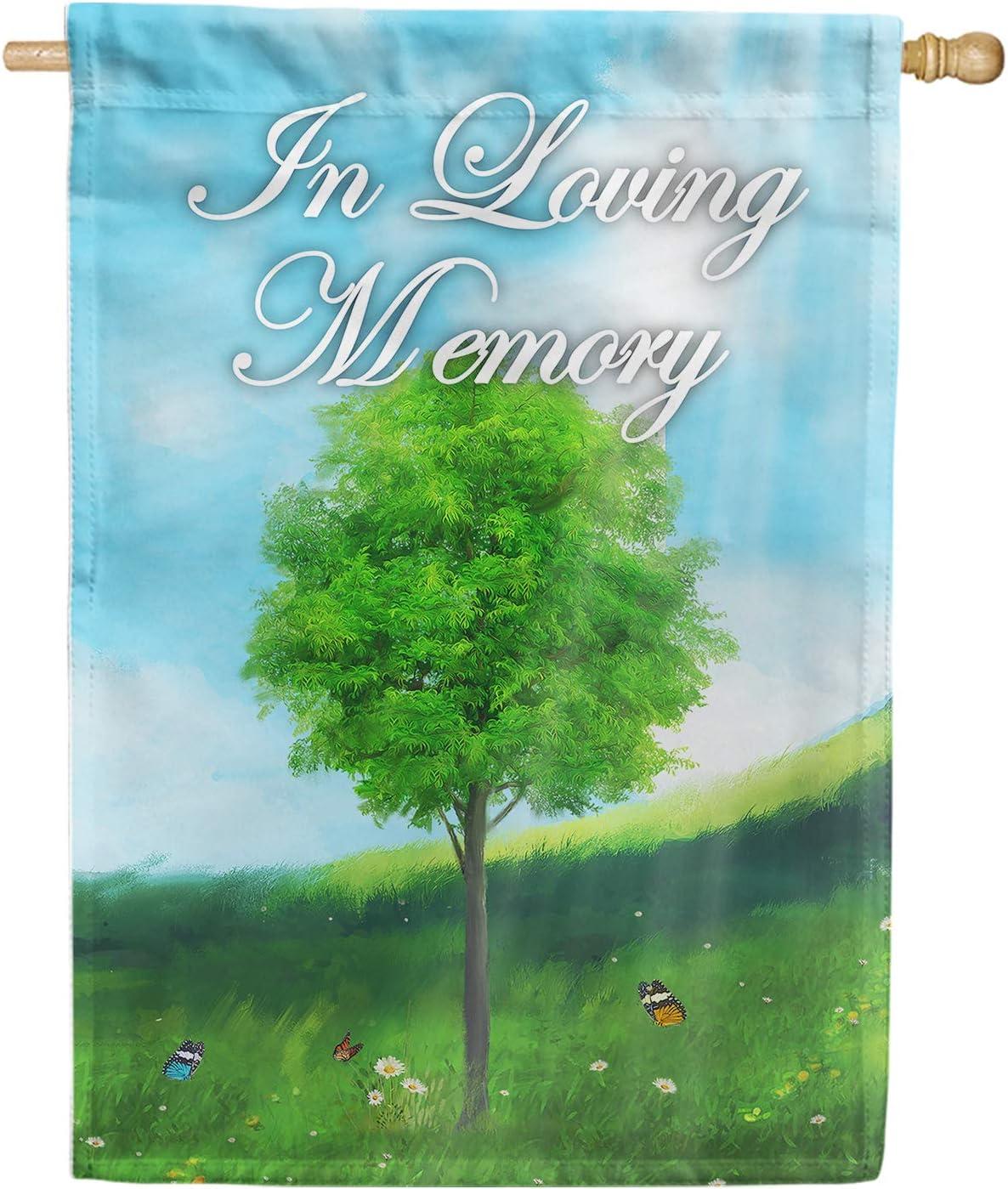 America Forever House Flag - in Loving Memory (Tree), Cemetery Memorial Religious Bereavement Double Sided 28