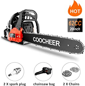 """COOCHEER Chainsaw, 62CC 20"""" Gas Power Chainsaw 3.5 HP and 2 Stroke Handheld Gasoline Chain Saw with Carry Bag for Tree Stumps, Limbs, Tree Felling, and Firewood Cutting(Red)"""